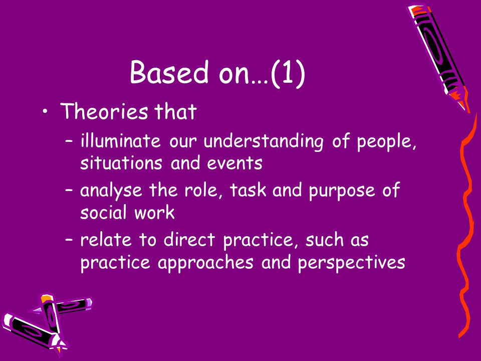 Based on…(1) Theories that –illuminate our understanding of people, situations and events –analyse the role, task and purpose of social work –relate to direct practice, such as practice approaches and perspectives