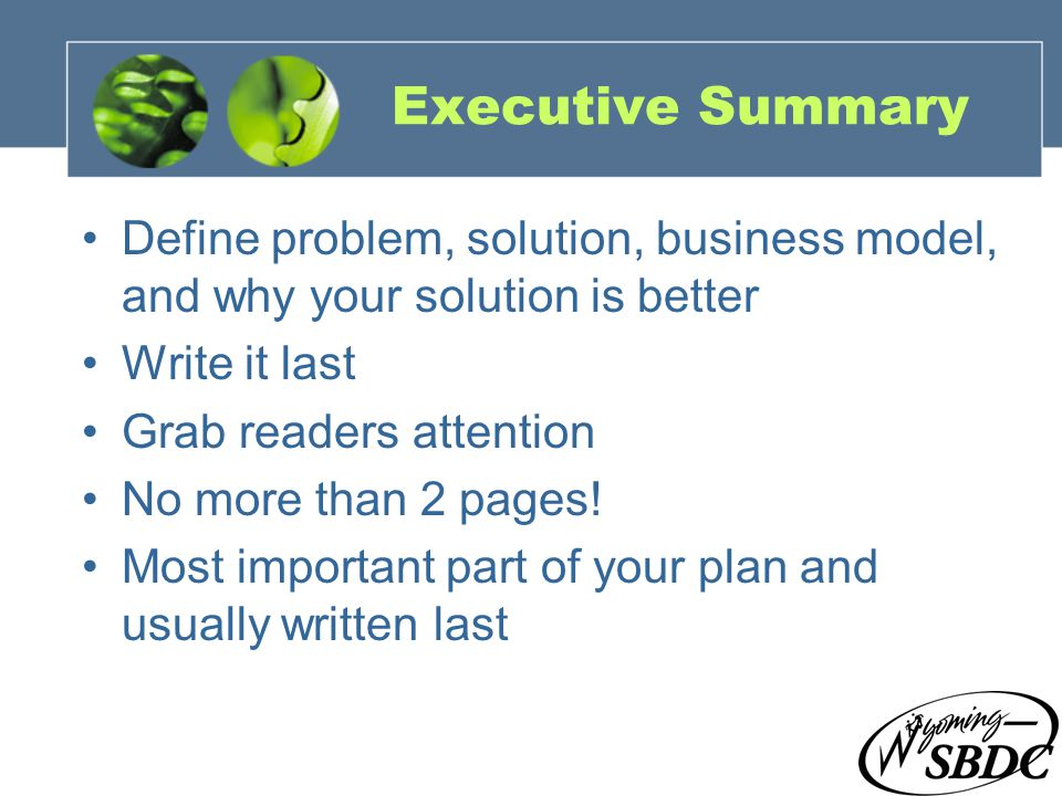 10 Executive Summary Define problem, solution, business model, and why your solution is better Write it last Grab readers attention No more than 2 pag