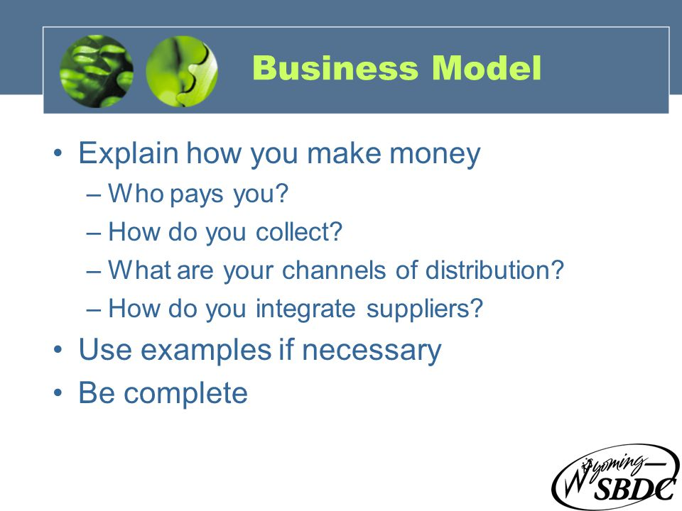 14 Business Model Explain how you make money –Who pays you.