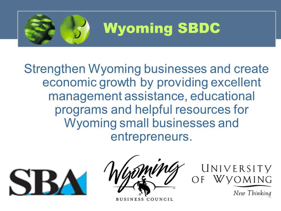 2 Strengthen Wyoming businesses and create economic growth by providing excellent management assistance, educational programs and helpful resources for Wyoming small businesses and entrepreneurs.