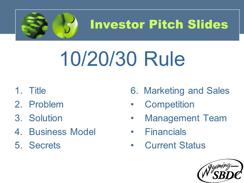 21 Investor Pitch Slides 1.Title 2.Problem 3.Solution 4.Business Model 5.Secrets 6.