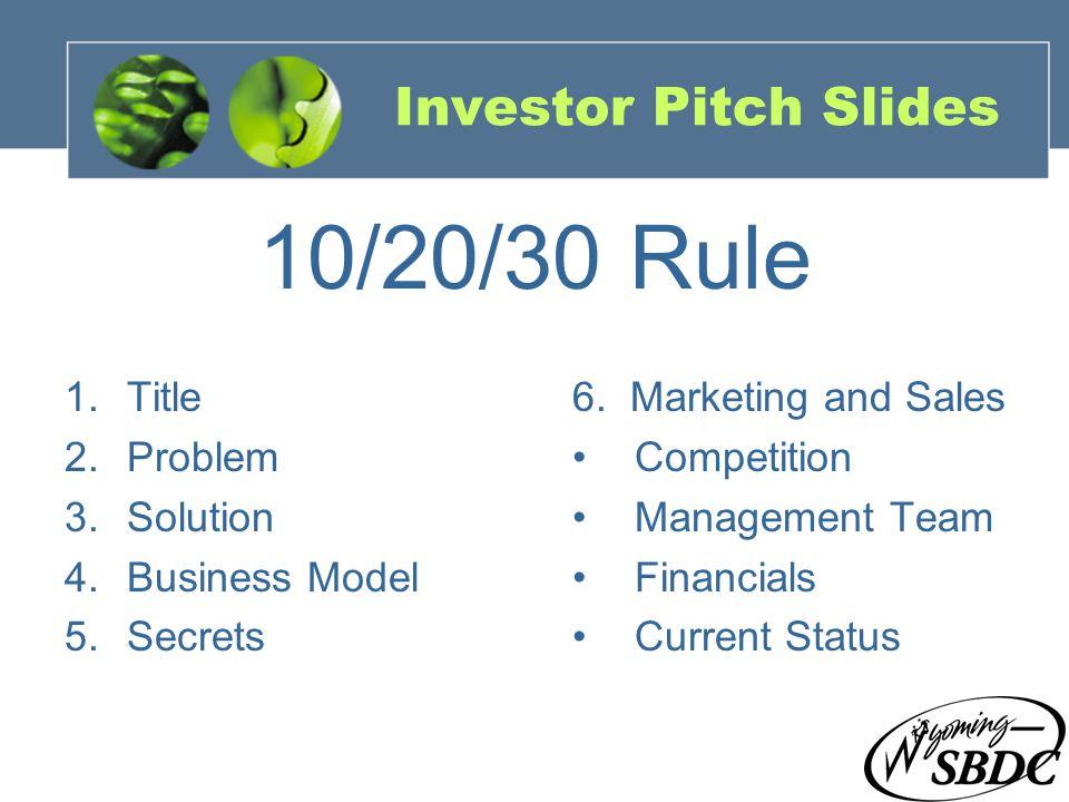 21 Investor Pitch Slides 1.Title 2.Problem 3.Solution 4.Business Model 5.Secrets 6. Marketing and Sales Competition Management Team Financials Current