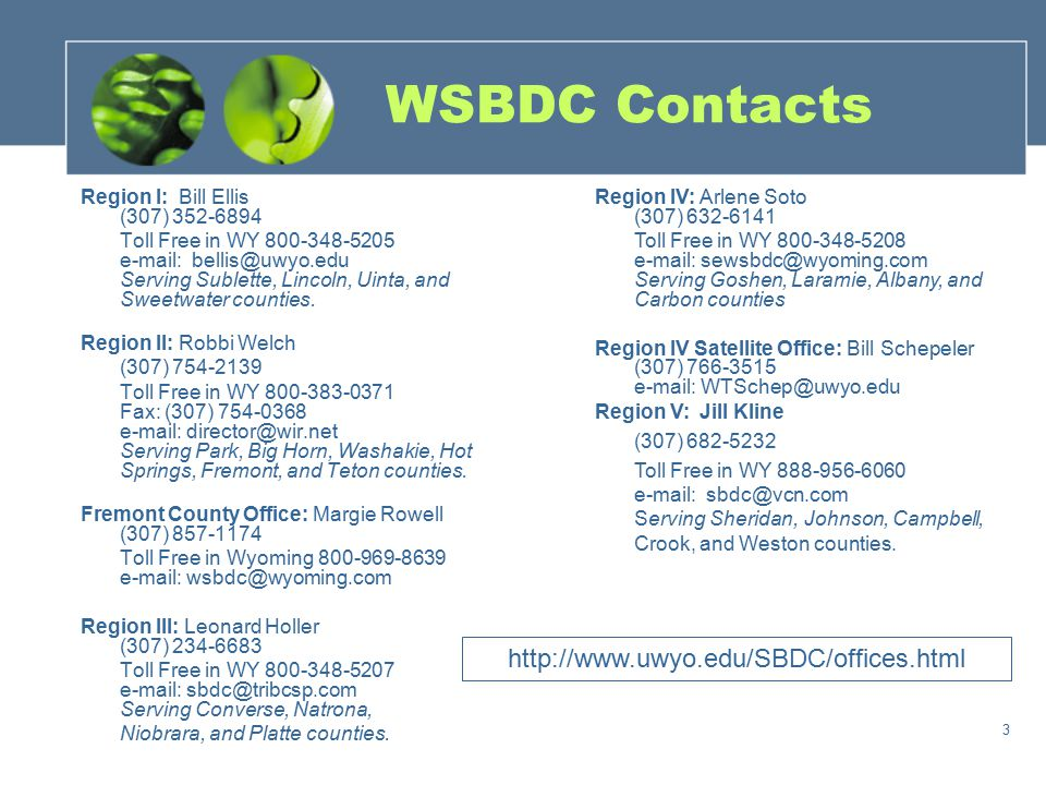 3 WSBDC Contacts Region I: Bill Ellis (307) 352-6894 Toll Free in WY 800-348-5205 e-mail: bellis@uwyo.edu Serving Sublette, Lincoln, Uinta, and Sweetw