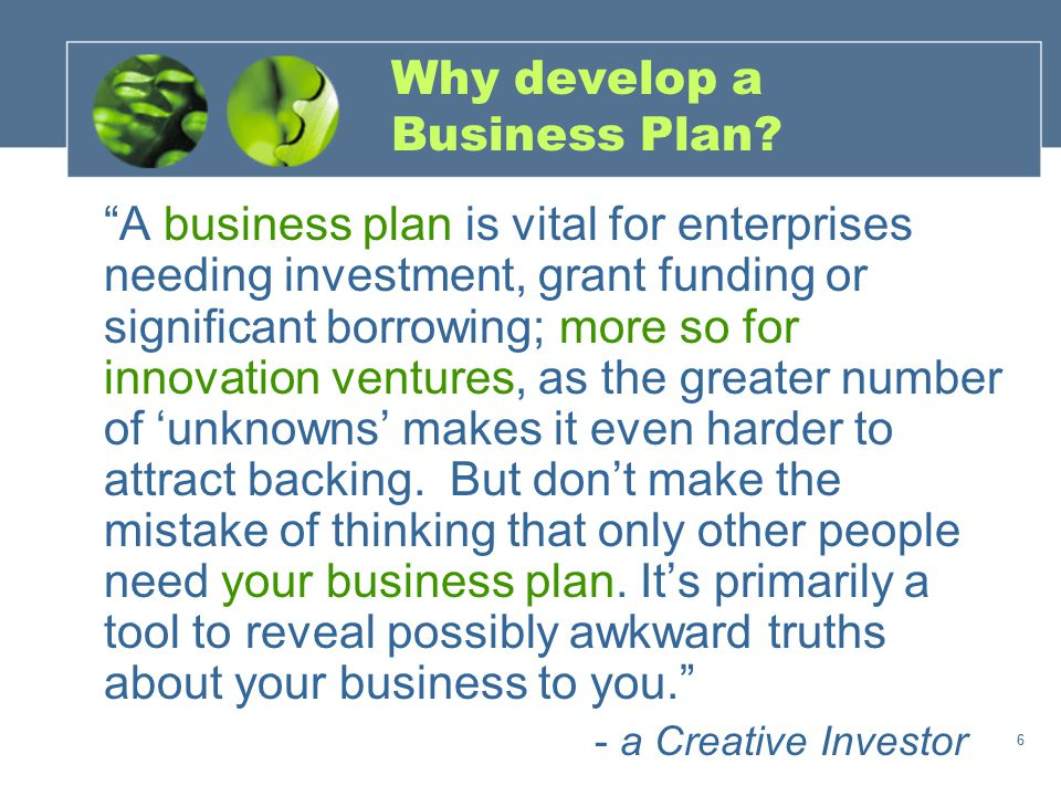 6 Why develop a Business Plan.