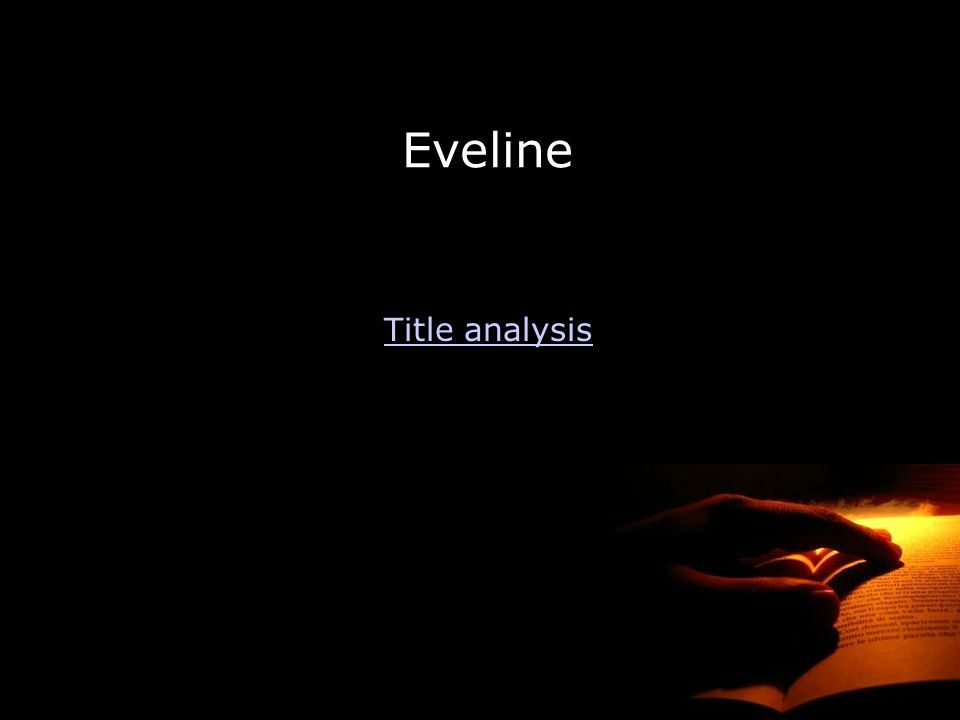 Eveline Title analysis