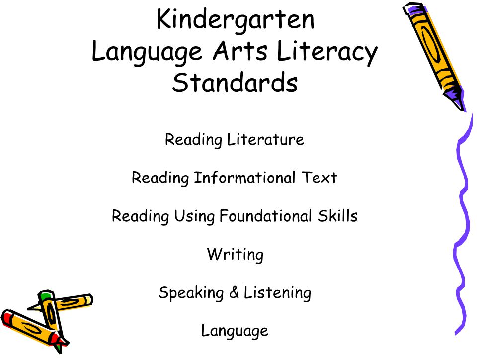 Kindergarten Language Arts Literacy Standards Reading Literature Reading Informational Text Reading Using Foundational Skills Writing Speaking & Liste