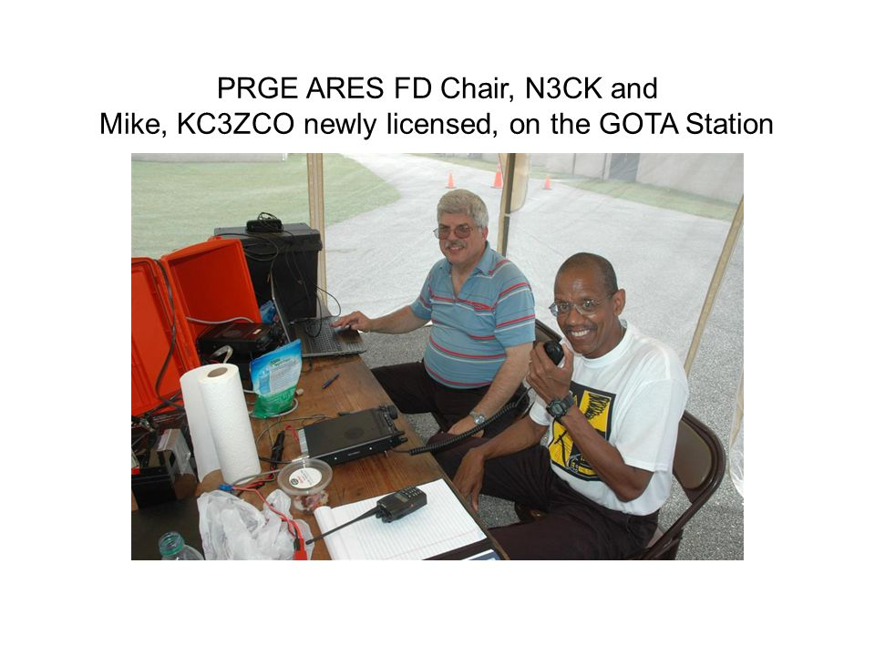 PRGE ARES FD Chair, N3CK and Mike, KC3ZCO newly licensed, on the GOTA Station