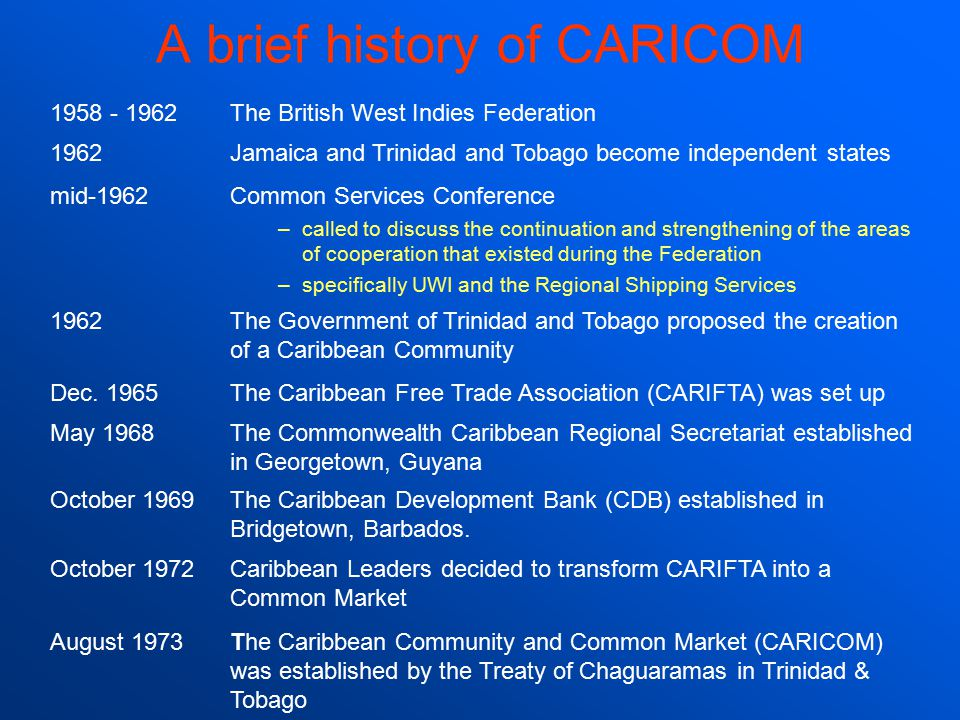 A brief history of CARICOM 1958 - 1962The British West Indies Federation 1962Jamaica and Trinidad and Tobago become independent states mid-1962Common