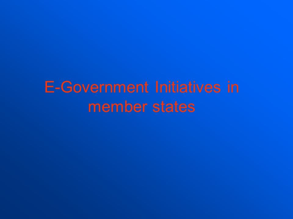 E-Government Initiatives in member states