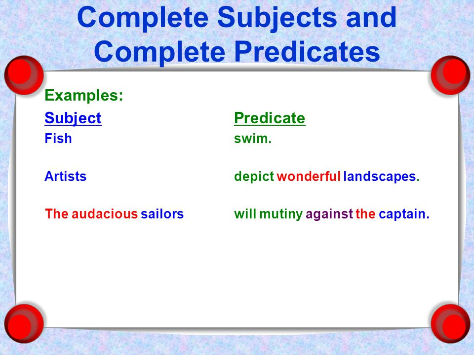 Complete Subjects and Complete Predicates Examples: SubjectPredicate Fishswim.