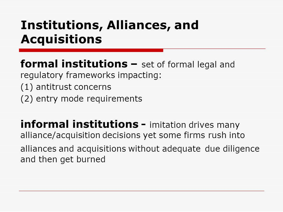 FROM CORPORATE MARRIAGE TO DIVORCE initiation - initiator starts feeling uncomfortable with the alliance (for whatever reason) going public - initiator likely to go public first but partner may preempt by blaming the initiator uncoupling - alliance dissolution can be friendly or hostile