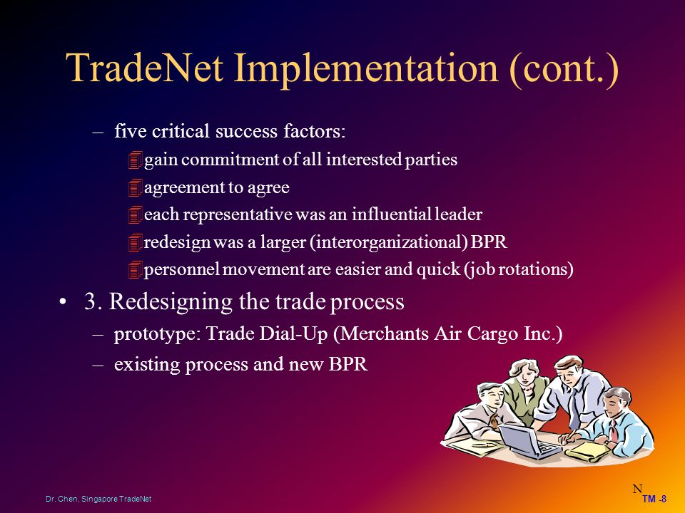 TradeNet Implementation (cont.) –five critical success factors: 4gain commitment of all interested parties 4agreement to agree 4each representative wa