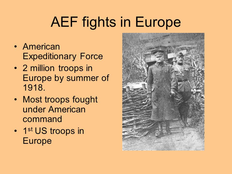 AEF fights in Europe American Expeditionary Force 2 million troops in Europe by summer of 1918. Most troops fought under American command 1 st US troo