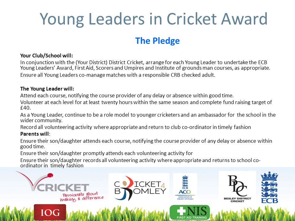 Young Leaders in Cricket Award The Pledge Your Club/School will: In conjunction with the (Your District) District Cricket, arrange for each Young Leader to undertake the ECB Young Leaders' Award, First Aid, Scorers and Umpires and Institute of grounds man courses, as appropriate.