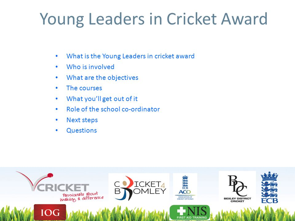 Young Leaders in Cricket Award What is the Young Leaders in cricket award Who is involved What are the objectives The courses What you'll get out of it Role of the school co-ordinator Next steps Questions