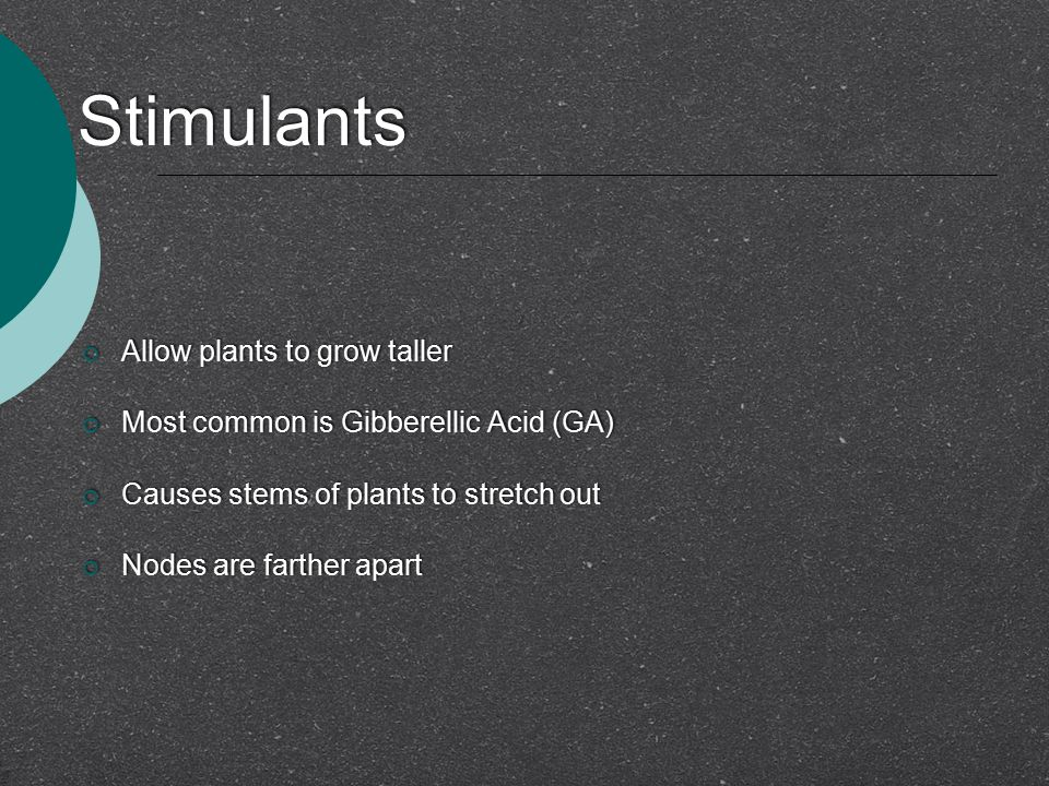 Stimulants  Allow plants to grow taller  Most common is Gibberellic Acid (GA)  Causes stems of plants to stretch out  Nodes are farther apart  Al