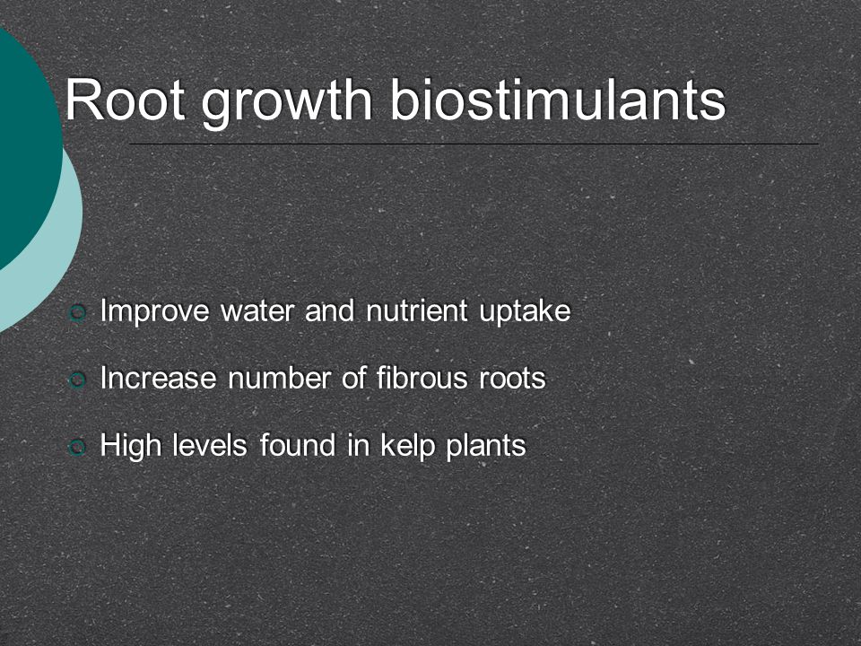 Root growth biostimulants  Improve water and nutrient uptake  Increase number of fibrous roots  High levels found in kelp plants  Improve water and nutrient uptake  Increase number of fibrous roots  High levels found in kelp plants