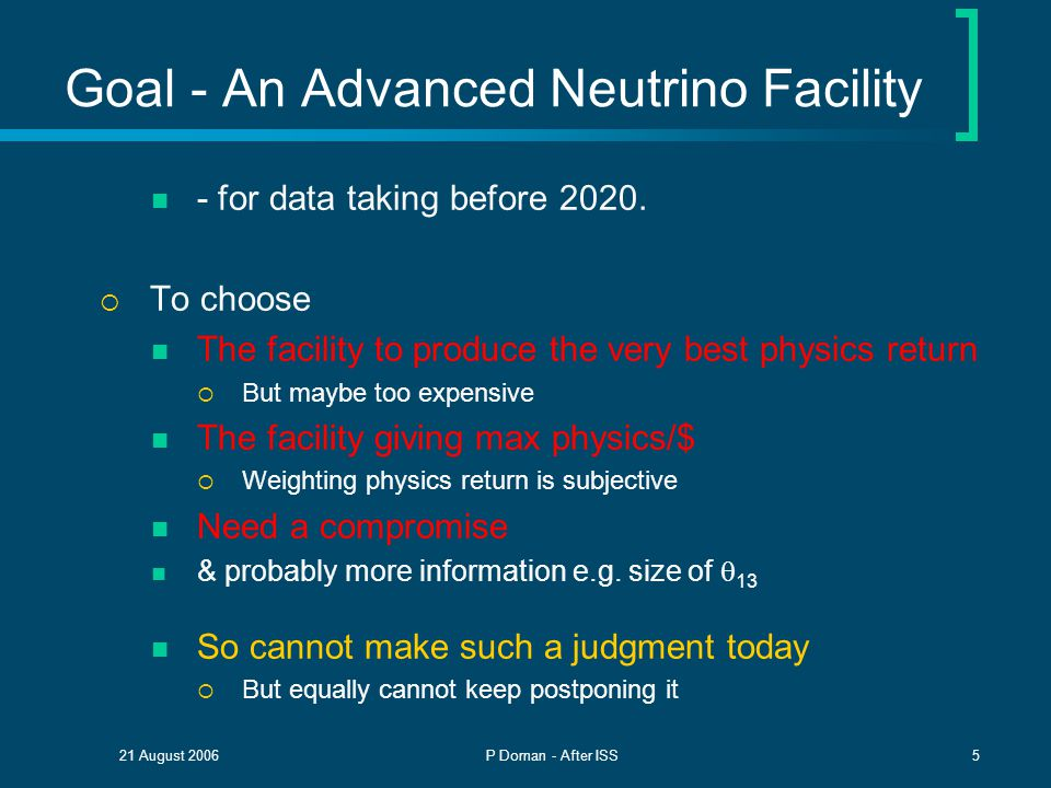 21 August 2006P Dornan - After ISS5 Goal - An Advanced Neutrino Facility - for data taking before 2020.