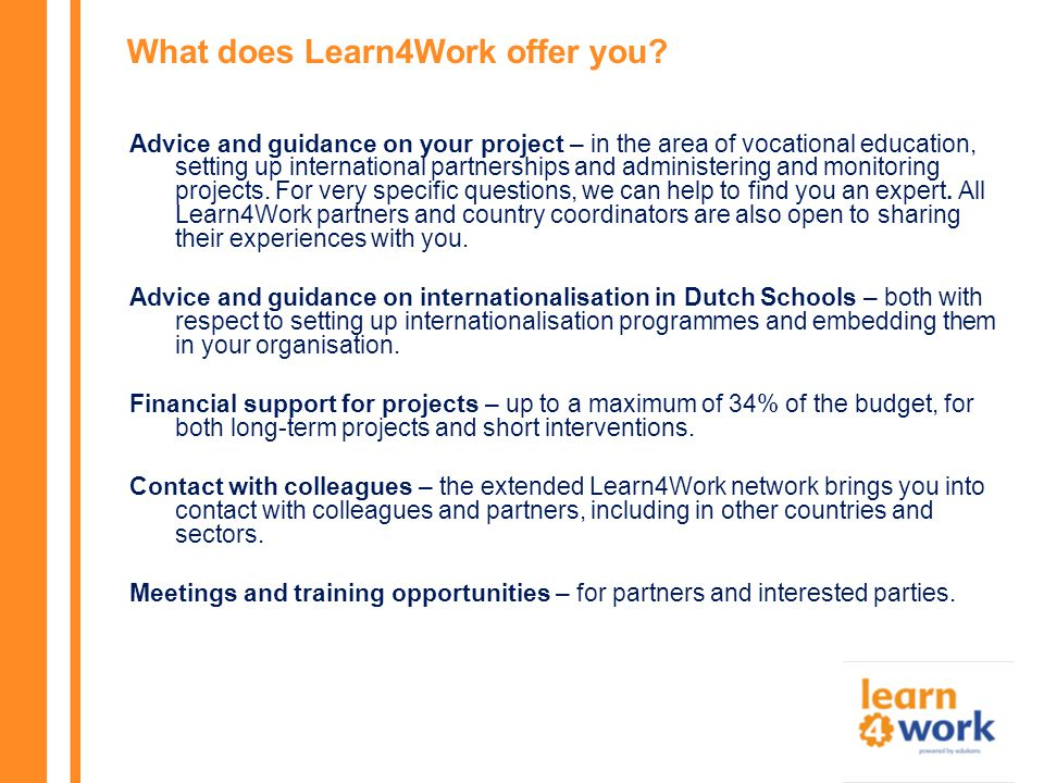 What does Learn4Work offer you.