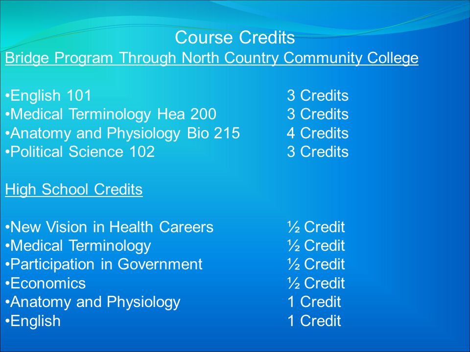 Course Credits Bridge Program Through North Country Community College English 1013 Credits Medical Terminology Hea 2003 Credits Anatomy and Physiology