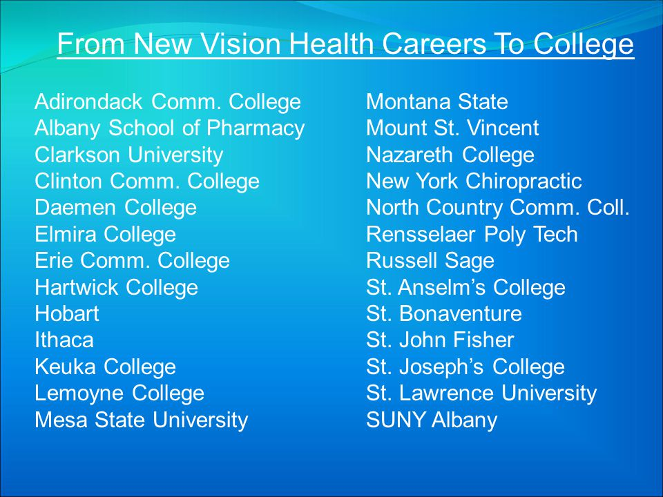 From New Vision Health Careers To College Adirondack Comm. CollegeMontana State Albany School of PharmacyMount St. Vincent Clarkson UniversityNazareth