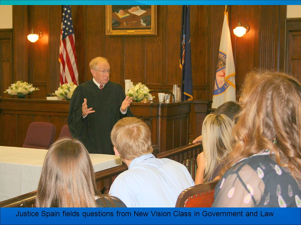 Justice Spain fields questions from New Vision Class in Government and Law