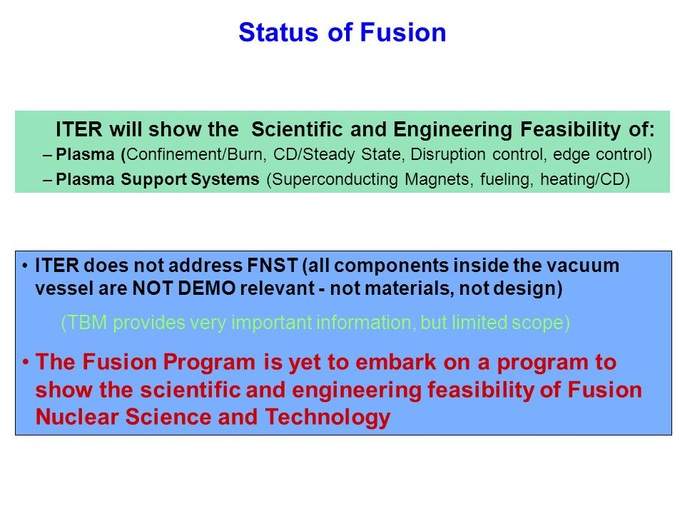 Status of Fusion ITER will show the Scientific and Engineering Feasibility of: –Plasma (Confinement/Burn, CD/Steady State, Disruption control, edge control) –Plasma Support Systems (Superconducting Magnets, fueling, heating/CD) ITER does not address FNST (all components inside the vacuum vessel are NOT DEMO relevant - not materials, not design) (TBM provides very important information, but limited scope) The Fusion Program is yet to embark on a program to show the scientific and engineering feasibility of Fusion Nuclear Science and Technology