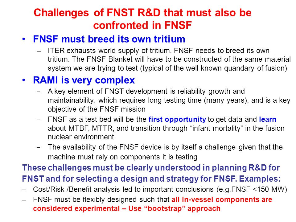 Challenges of FNST R&D that must also be confronted in FNSF FNSF must breed its own tritium –ITER exhausts world supply of tritium.