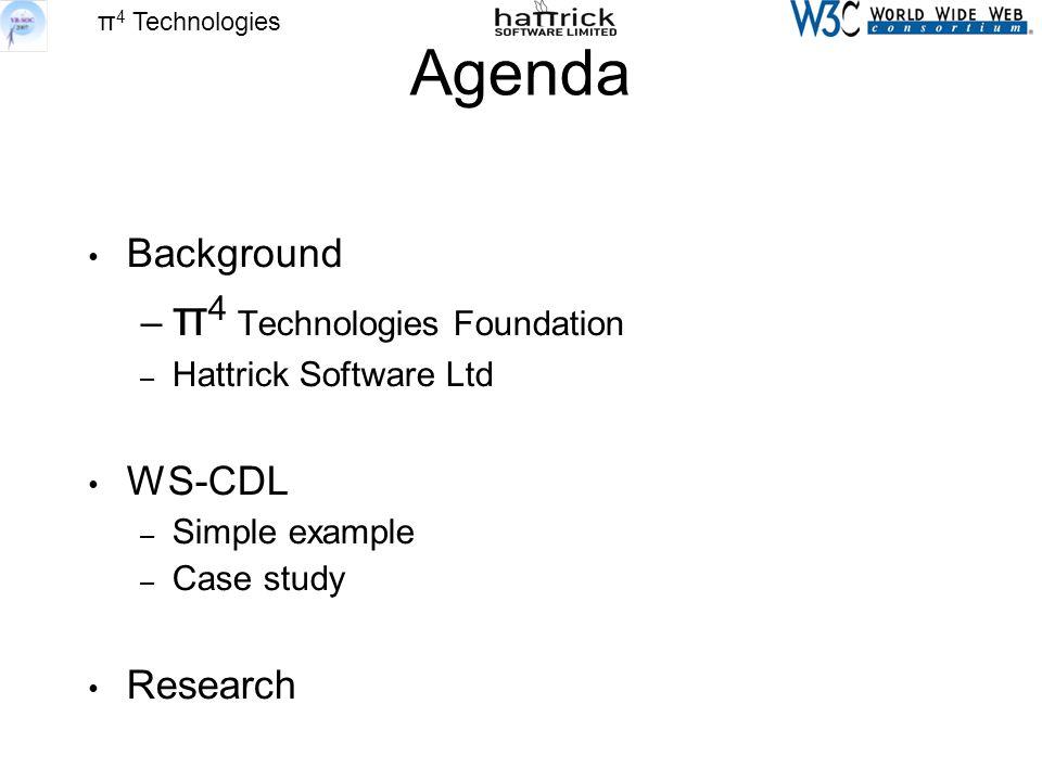 π 4 Technologies Agenda Background – π 4 Technologies Foundation – Hattrick Software Ltd WS-CDL – Simple example – Case study Research