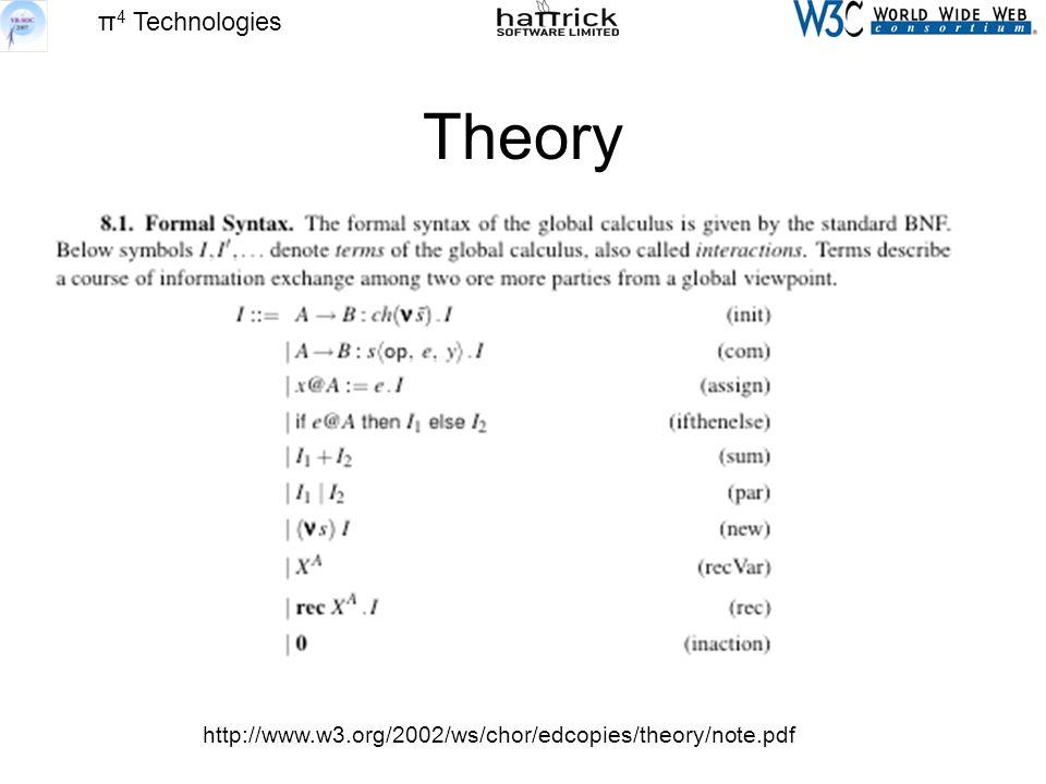 π 4 Technologies Theory http://www.w3.org/2002/ws/chor/edcopies/theory/note.pdf