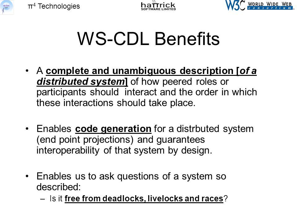 π 4 Technologies WS-CDL Benefits A complete and unambiguous description [of a distributed system] of how peered roles or participants should interact and the order in which these interactions should take place.