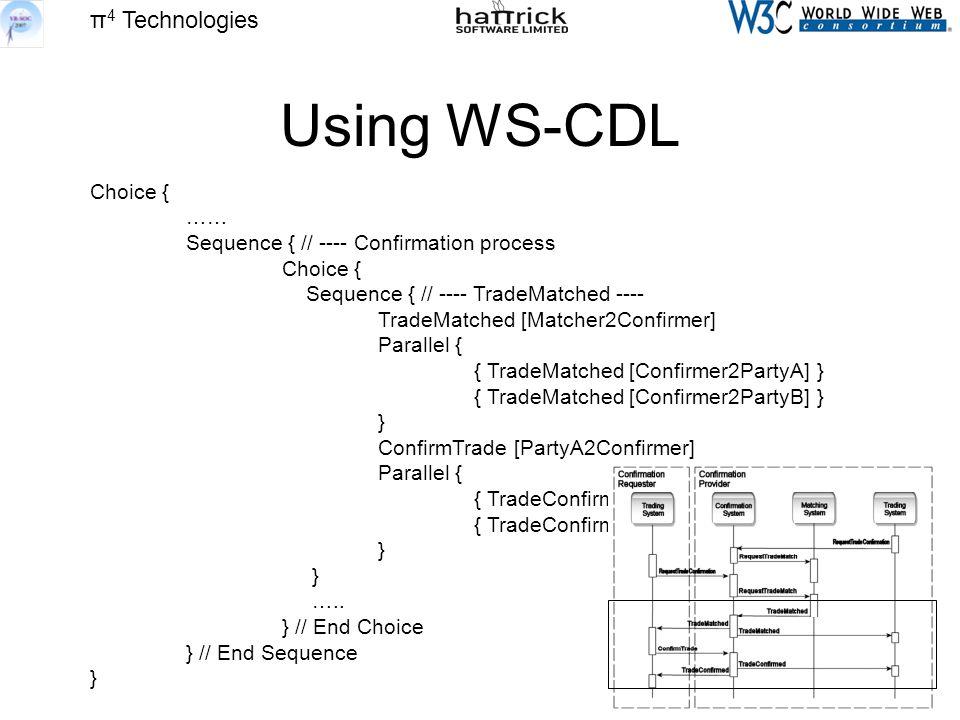 π 4 Technologies Using WS-CDL Choice { …… Sequence { // ---- Confirmation process Choice { Sequence { // ---- TradeMatched ---- TradeMatched [Matcher2Confirmer] Parallel { { TradeMatched [Confirmer2PartyA] } { TradeMatched [Confirmer2PartyB] } } ConfirmTrade [PartyA2Confirmer] Parallel { { TradeConfirmed [Confirmer2PartyA] } } …..