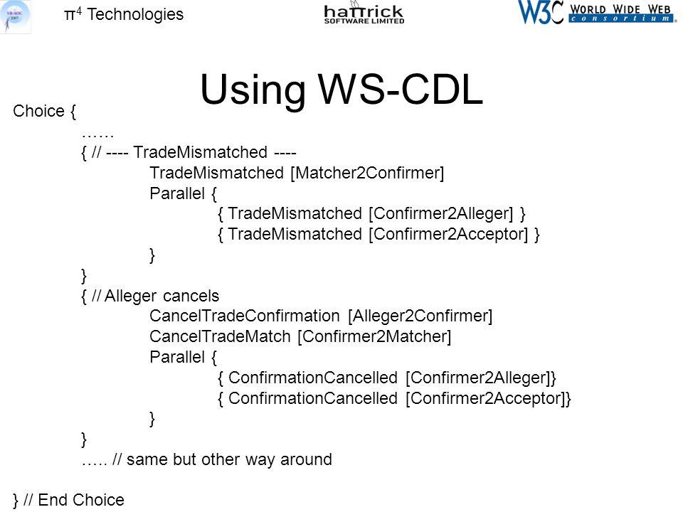π 4 Technologies Using WS-CDL Choice { …… { // ---- TradeMismatched ---- TradeMismatched [Matcher2Confirmer] Parallel { { TradeMismatched [Confirmer2Alleger] } { TradeMismatched [Confirmer2Acceptor] } } { // Alleger cancels CancelTradeConfirmation [Alleger2Confirmer] CancelTradeMatch [Confirmer2Matcher] Parallel { { ConfirmationCancelled [Confirmer2Alleger]} { ConfirmationCancelled [Confirmer2Acceptor]} } …..