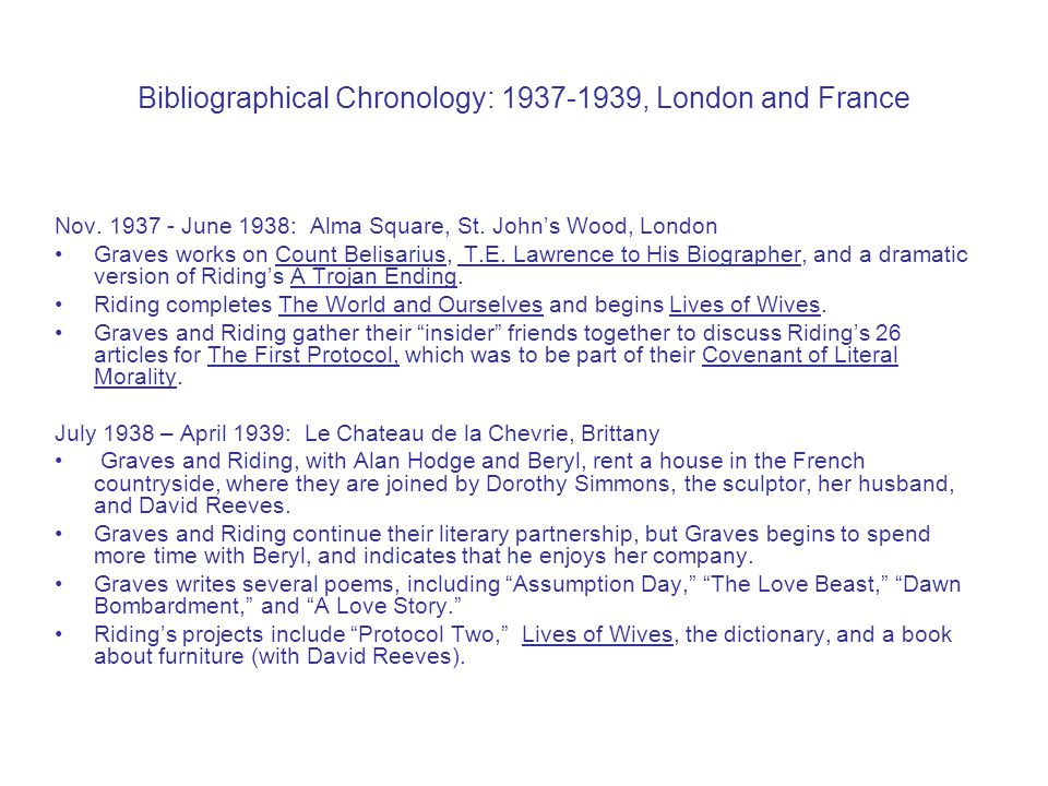 Bibliographical Chronology: 1937-1939, London and France Nov.