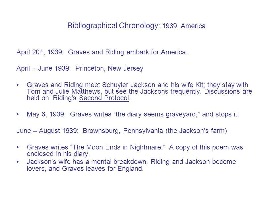 Bibliographical Chronology: 1939, America April 20 th, 1939: Graves and Riding embark for America.