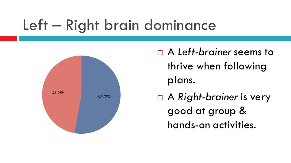 Left – Right brain dominance  A Left-brainer seems to thrive when following plans.  A Right-brainer is very good at group & hands-on activities.