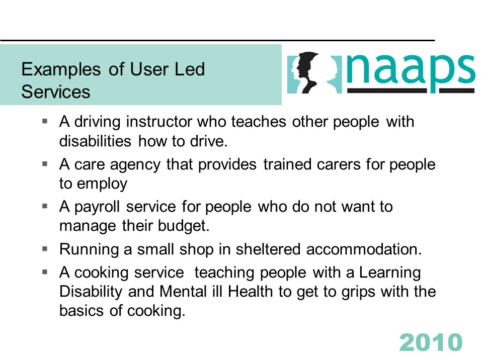 2010 Examples of User Led Services  A driving instructor who teaches other people with disabilities how to drive.