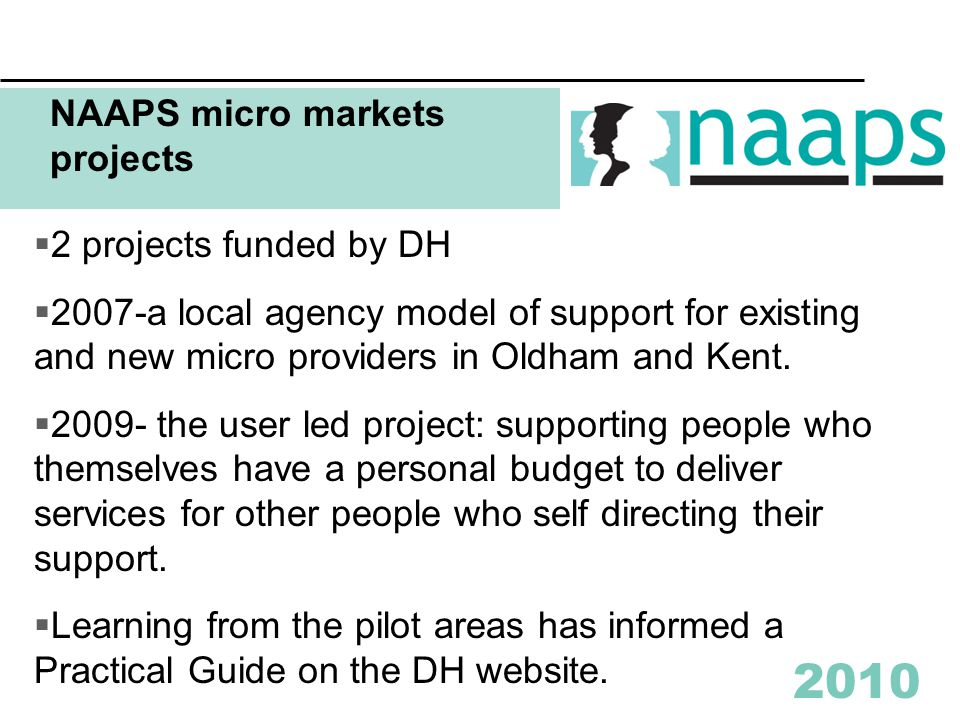 2010 Examples of micro services  Supported tenancies  Small residential care homes  Day services  Leisure services  Support to people living in their own homes  Holidays and short breaks  Friendship or good neighbour  Drop in centres and lunch clubs  Advice and representation  Personal development