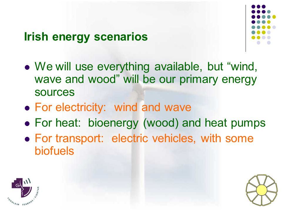 We will use everything available, but wind, wave and wood will be our primary energy sources For electricity: wind and wave For heat: bioenergy (wood) and heat pumps For transport: electric vehicles, with some biofuels Irish energy scenarios