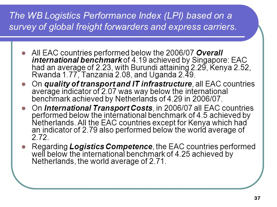 37 The WB Logistics Performance Index (LPI) based on a survey of global freight forwarders and express carriers.