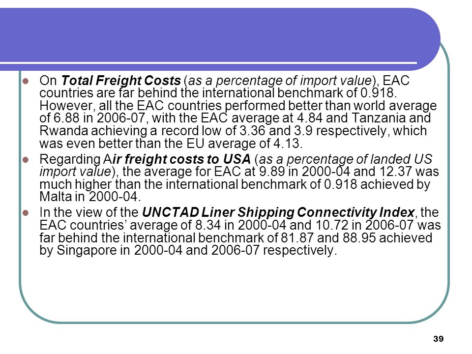 39 On Total Freight Costs (as a percentage of import value), EAC countries are far behind the international benchmark of 0.918.