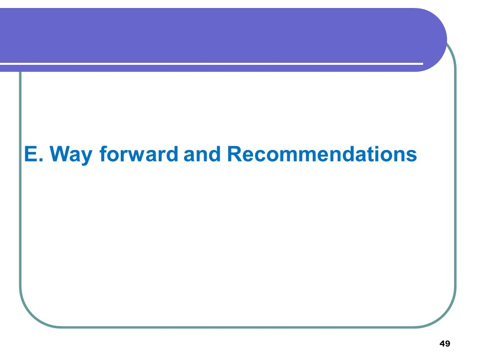 49 E. Way forward and Recommendations