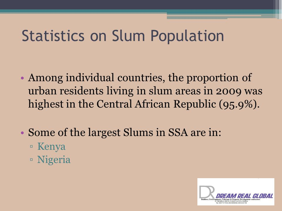 Among individual countries, the proportion of urban residents living in slum areas in 2009 was highest in the Central African Republic (95.9%).