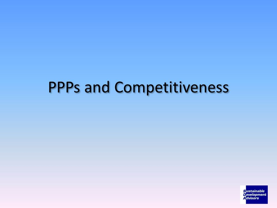 PPPs and Competitiveness