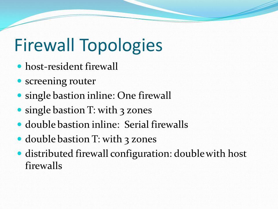 Firewall Topologies host-resident firewall screening router single bastion inline: One firewall single bastion T: with 3 zones double bastion inline: