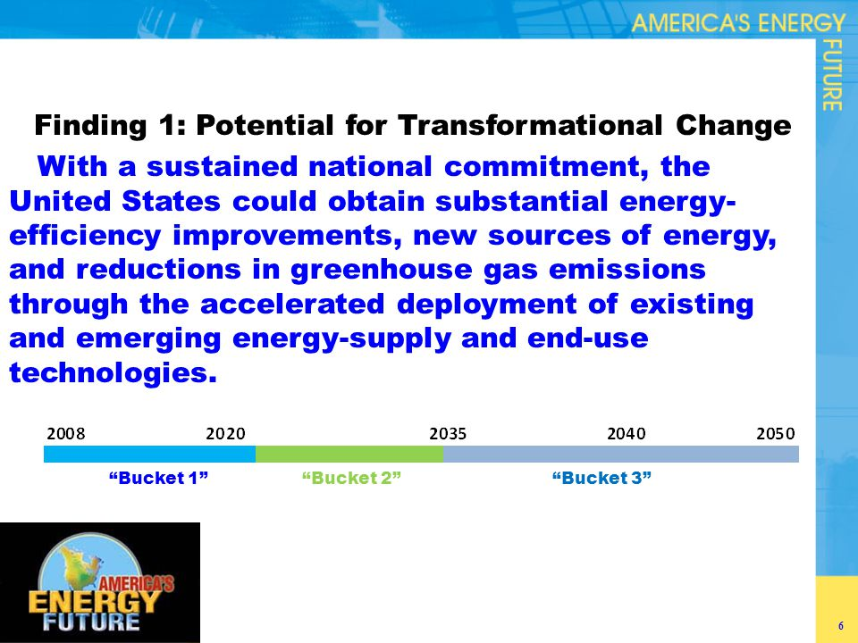 Finding 2: Energy Efficiency Potential The deployment of existing energy-efficiency technologies is the nearest-term and lowest-cost option for moderating our nation's demand for energy, especially over the next decade.
