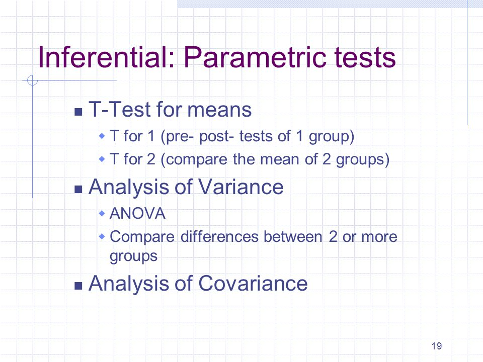 19 Inferential: Parametric tests T-Test for means  T for 1 (pre- post- tests of 1 group)  T for 2 (compare the mean of 2 groups) Analysis of Variance  ANOVA  Compare differences between 2 or more groups Analysis of Covariance