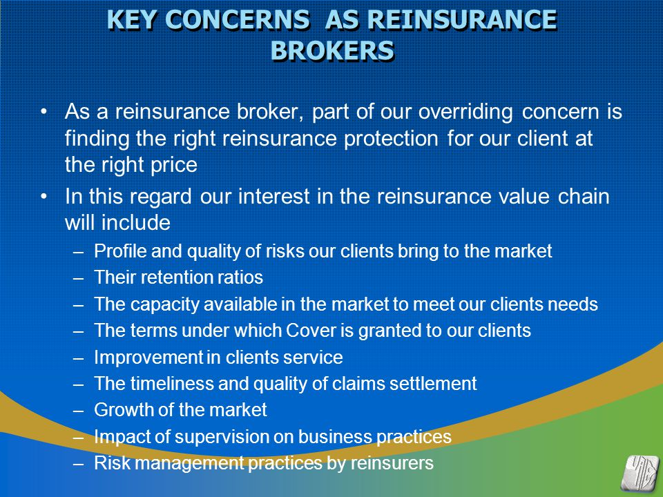 STATE OF THE AFRICAN INSURANCE MARKET Capital inadequacy resulting in low retentions and high demand for reinsurance.