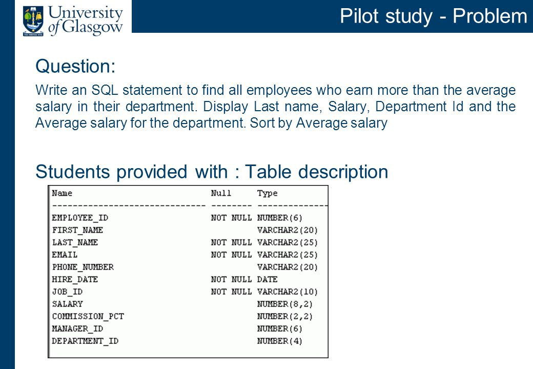 Question: Write an SQL statement to find all employees who earn more than the average salary in their department.