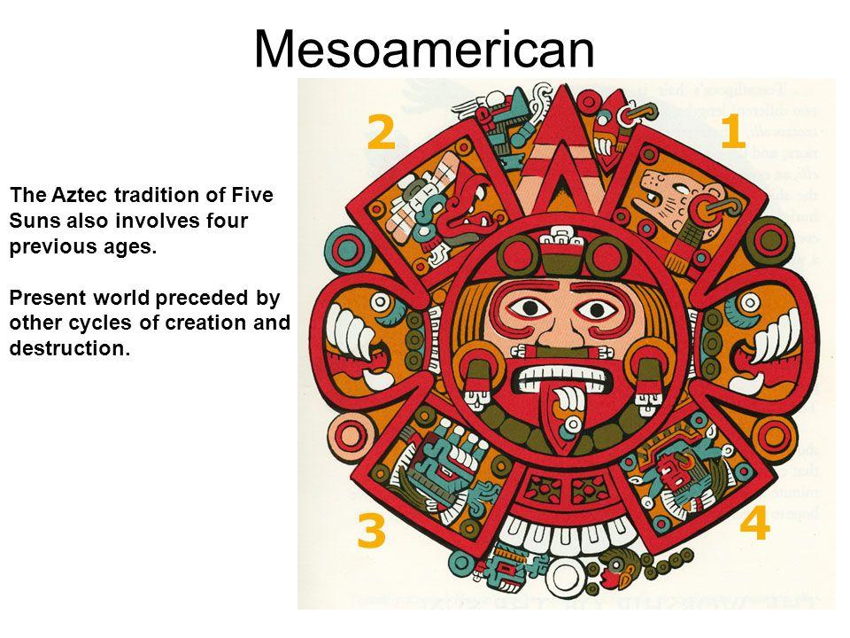 Mesoamerican Jaguar Sun (Nahui Ocelotl) Wind Sun (Nahui Ehecatl) Rain Sun (Nahui Quiahuitl) Water Sun (Nahui Atl) Earthquake Sun